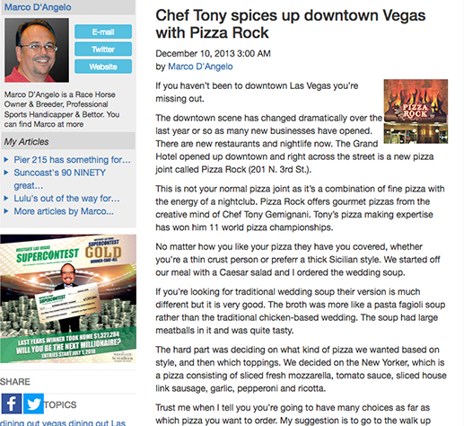 Chef Tony spices up downtown Vegas with Pizza Rock