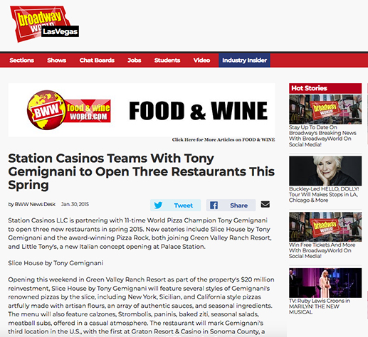 Station Casinos Teams with Tony Gemignani to Open 3 Restaurants
